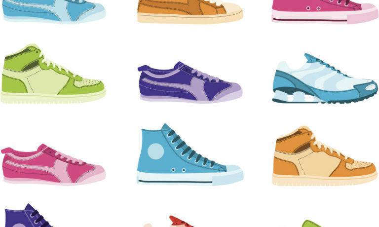 Bunte Sneaker gezeichnet