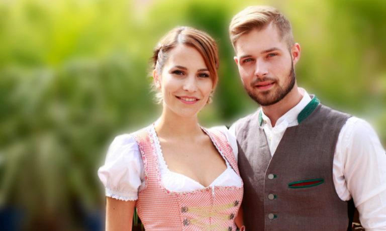 Mann und Frau im Tarchtenoutfit