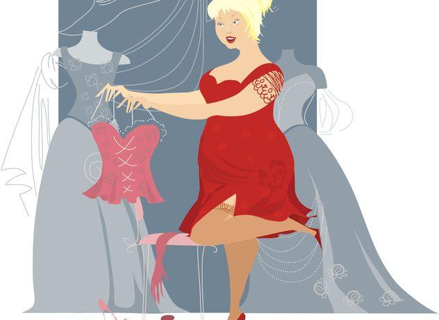 Zeichnung: Frau im roten Kleid